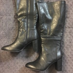 torrid black taper boots with heel 10W Wide calf.